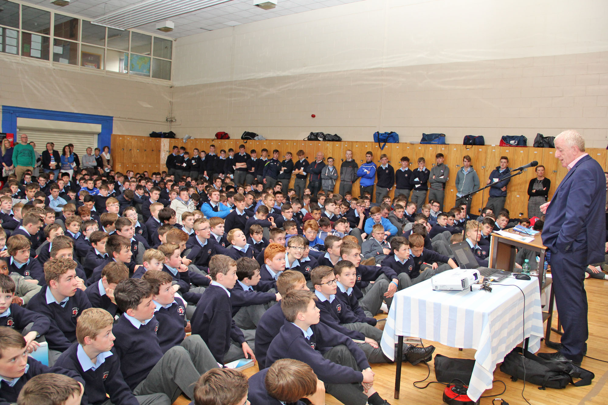 Explorer Dr Michael Feighan addressing students in Good Counsel College last Wednesday